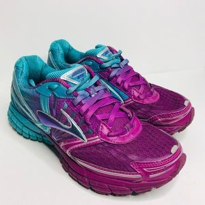 Brooks Running Shoe GTS 14 Size 7 Purple Aqua